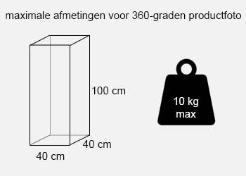 maximale afmetingen 360 graden productfotografie